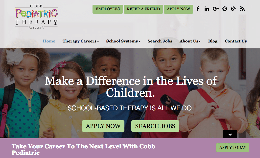 Cobb Pediatric value proposition inbound marketing ready website
