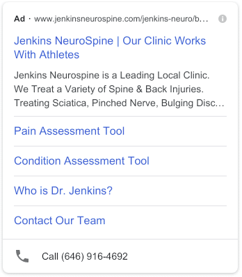 Spine Center PPC Advertising