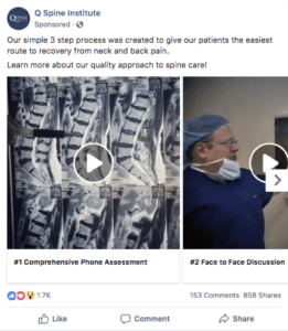 Spine Center Facebook Advertising