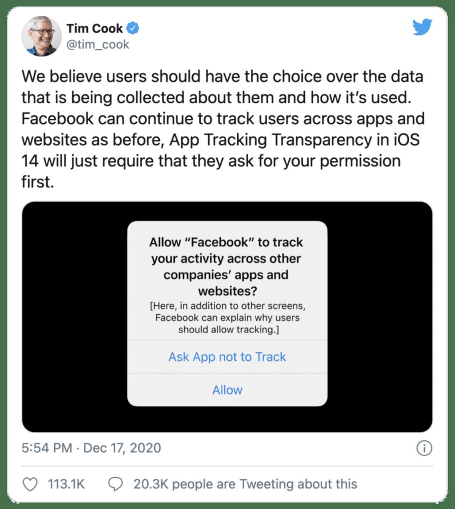Tim Cook Privacy Tweet