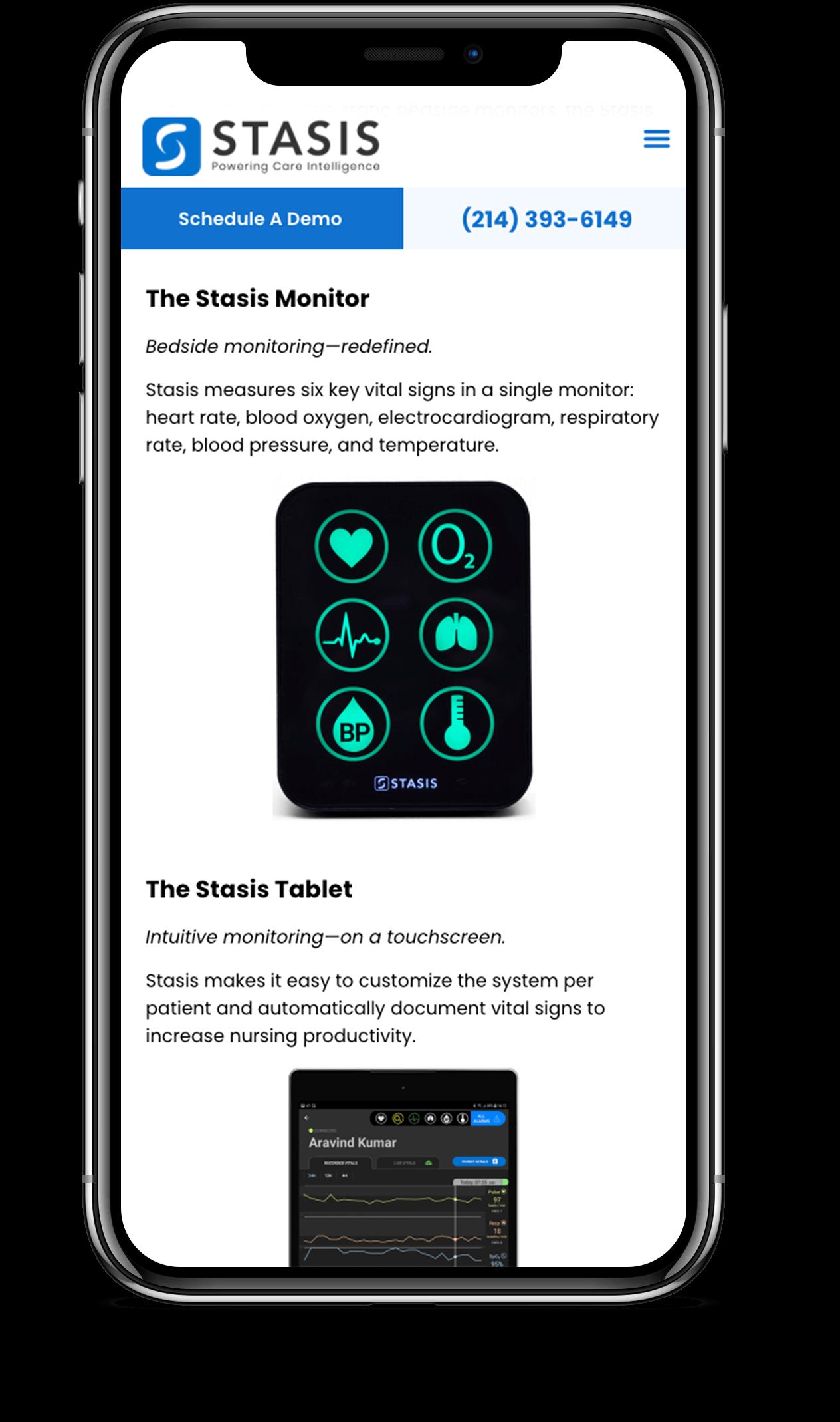 Stasis Mobile Homepage Mock Middle